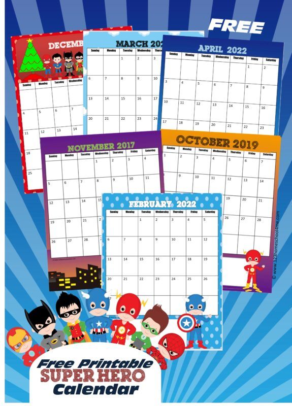 Kids will love keeping track of upcoming holidays while learning about the days, months, and weeks of the year with this super cute, free printable Superhero Calendar. This superhero calendar 2022 pdf file template includes your child's favorite superhero such as Batman, Robin, Captain America, Ironman, Flash, Green Lantern, Spiderman, and more! Simply print the kids calendar pages and assemble your free calendar for toddler, preschool, pre k, kindergarten, first grade, 2nd grade and more!