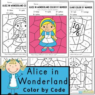 Alice in Wonderland Color by Code