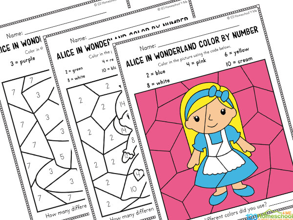 Alice in Wonderland Color by Number Printable