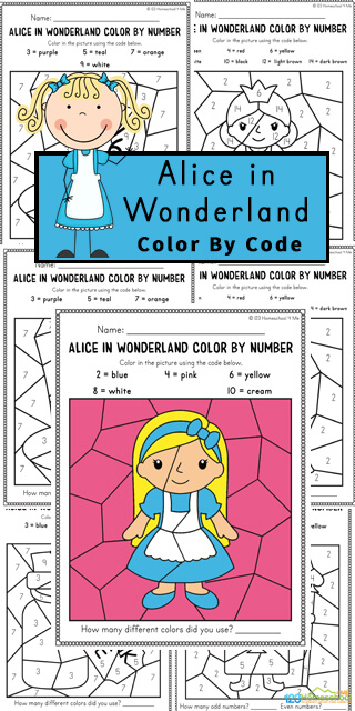Kids will have fun practicing identifying odd and even numbers with these super cute, free printable Alice in Wonderland worksheets. This Free Color by Number is made especially for preschool, pre-k, kindergarten, and first grade children to help them work on their number recognition as well as to begin learning about odd and even numbers. As students work on these Alice in wonderland worksheets, they will color the spaces to reveal a hidden picture showing a fun character or prop from Alice in Wonderland.