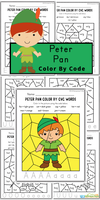 Kids will have fun practicing identifying CVC words with these super cute, free printable Peter Pan worksheets. These CVC word worksheets make especially for preschool, pre-k, kindergarten, and first grade children to help them work on their CVC recognition as well as begin learning about reading and spelling words. As students work on these color by CVC word, they will color the spaces to reveal a hidden picture showing a fun character or a prop from Peter Pan. Simply print free cvc coloring worksheets to add a Disney worksheet to make learning extra fun!
