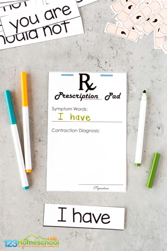 Contractions Games Printable