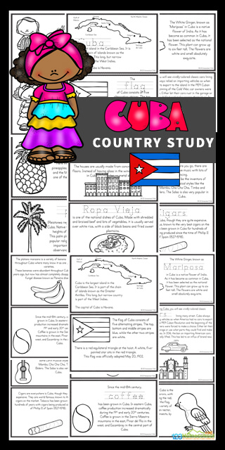 Travel to another country from the comfort of your house with these fun, engaging Cuba for Kids Free printable mini books. This long, narrow island is the largest island in the Caribbean Sea. It is also home to the smallest bird in the world - the bee hummingbird which grows to about 6 cm in length. Download the pdf file to use this Cuba Country Study to teach preschool, pre-k, kindergarten, first grade, 2nd grade, 3rd grade, 4th grade, 5th grade, and 6th grade students about Cuba; their way of life, the culture, landmarks and interests. They will also learn about fruit, the national bird as well as classic cars.