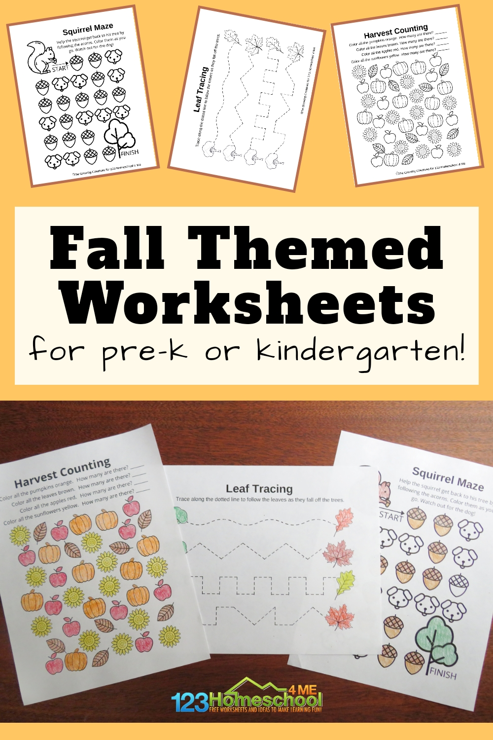 Teaching around a theme can make the learning process a lot easier. These fall worksheets for preschoolers are the perfect way to work on various concepts for young children this fall and autumn season. Simply download pdf file and practice counting, tracing, coloring, and problem solving skillswith these free printable autumn worksheets for preschool childrenin September, October, and November.