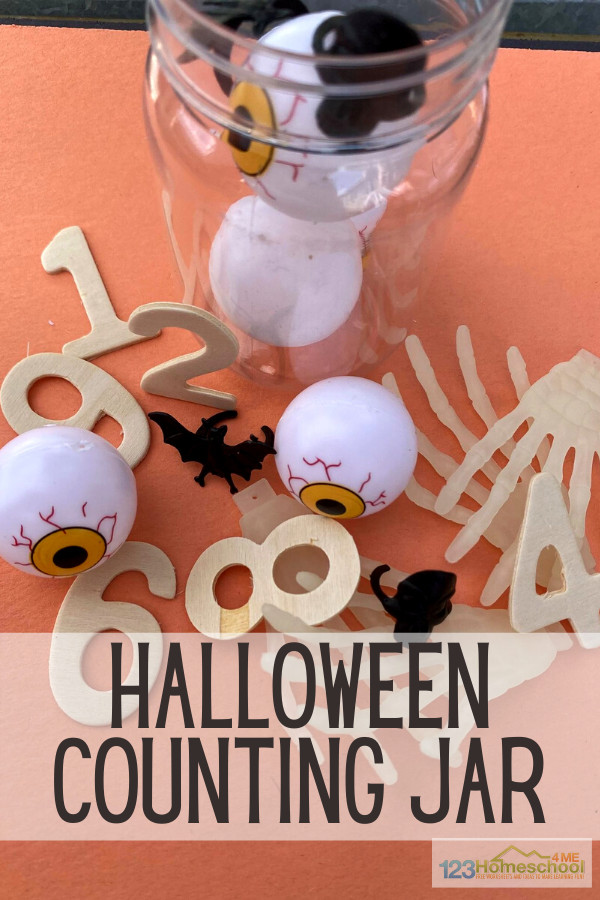There are so many different counting activities. Some that take a whole box of supplies to create and others that don't. Either way they can help children learn and practice counting. As a parent, and teacher, though, I prefer activities that are simple to set up, don't create too much mess but that will help children. This Counting Jar Halloween activity is a fun math activity for toddler, preschool, pre-k, and kindergarten age children in October.