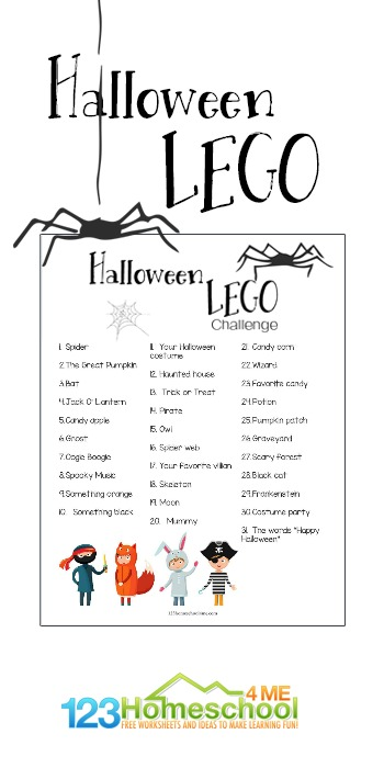 Spend the month of October using Lego bricks, Duplo, playdough, or other favorite material for building to create these fun (not scary) things that remind us of Halloween. This Halloween LEGO Challenge is a fun way to keep kids creativity flowing, problem solving being practiced, and building skills being used for a STEM activity. This free printable October activity calendar is perfect for toddler, preschool, pre-k, kindergarten, first grade, and 2nd grade students.