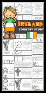 Learn about Ireland for Kids with these Free printable Ireland Mini Books. This beautiful green country, known as the Emerald Isle, is the only country that has a musical instrument - the harp - as a national symbol. Due to its history with wars, there are many castles dotted throughout the country which were used to protect families from invaders. Download the pdf file to print the book template to teach about Ireland; their way of life, the culture, landmarks and interests. They will also learn about St. Patrick's Day and lots of Irish traditions. with pre k, kindergarten, grade 1, grade 2, grade 3, grade 4, and grade 5 students.