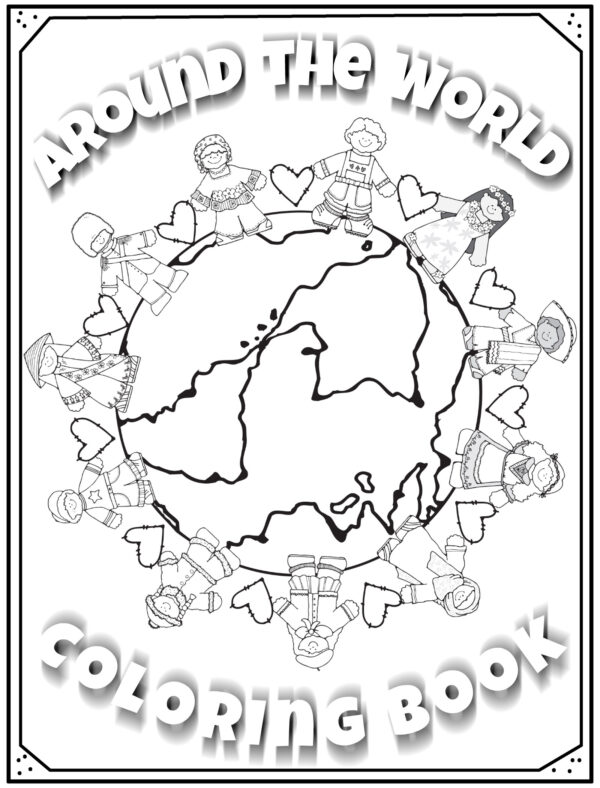 around the world coloring book cover