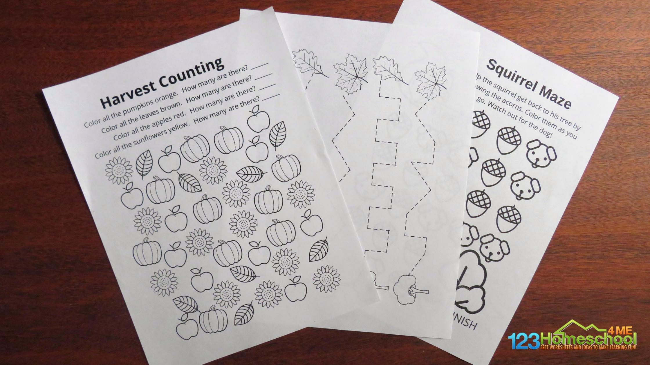 autumn worksheets for preschool