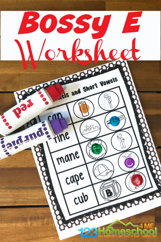 Is your child working on distinguishing between short vowel and long vowel words? The skills or deciphering long and short vowels is an important phonics skill that will help your kindergarten, first grade, and 2nd grade student learn to read. Download the pdf file with these super cute, free printable bossy e worksheets to help students practice identifying silent e and magic e in words (long vowels ).