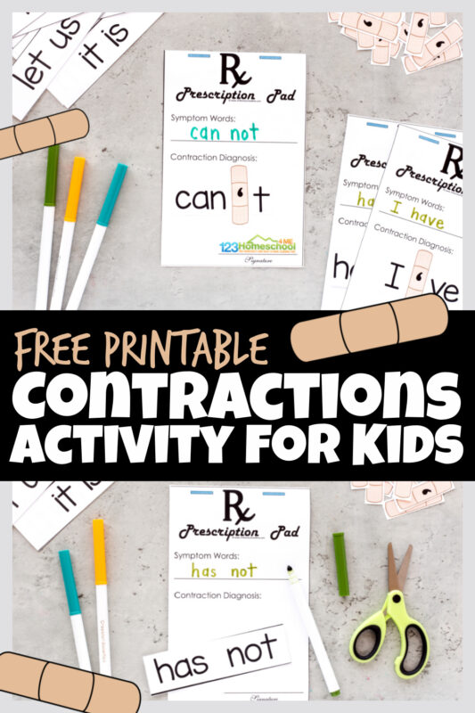 Confused by Contractions? This super cute, free Band-Aid contraction games printableis a fun, hands-on contractions activity to help kids understand how contractions are made up of two different words. These contraction games are perfect for 2nd grade, 3rd grade, 4th grade, and 5th graders. Simply print pdf file with contractions exercises with answersand you are ready to play and learn!