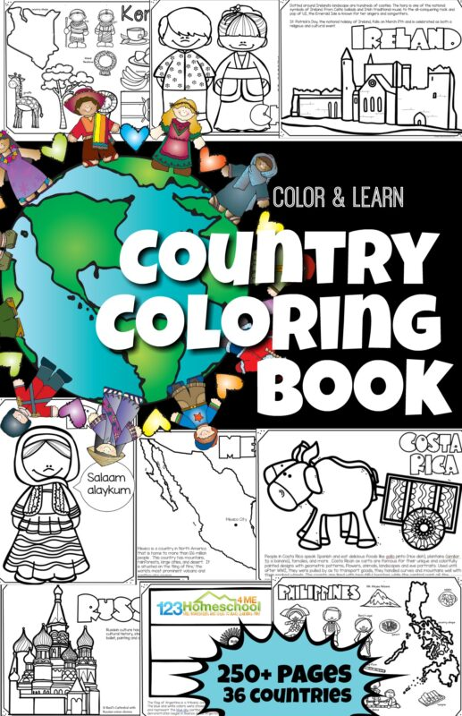 Learn about 36 different countries from around the world as you read, color, and learn with these printable Country Coloring Pages for kids of all ages (toddler, preschool, pre k, kindergarten, first grade, 2nd grade, 3rd grade, 4th grade, 5th grade, and 6th grade students)