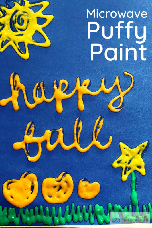 Fall Leaves Puffy Paint - this easy to make microwave puffy paint is such a fun play recipe for toddler, preschool, pre-k, kindergarten, and first grade children. They can make fall leaves, pumpkins, etc and they watch their fall craft puff up. You've got to try this fall art project for kids!