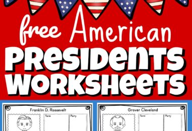 These free U.S. Presidents Worksheets are a great way for children to practice and improve their knowledge of the Presidents of the United States as well as work on their research and handwriting skills. This history for kids activity is perfect for kindergarten, first grade, 2nd grade, 3rd grade, 4th grade, 5th grade, and 6th grade kids learning about American history, preparing for Presidential Elections for kids, or celebrating Presidents Day.
