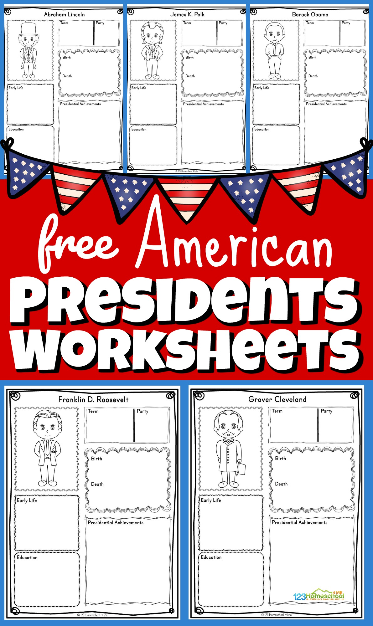 These free printable American Presidents Worksheets are a great way for children to practice and improve their knowledge of the Presidents of the United States as well as work on their research and handwriting skills. This Presidents for kids activity is perfect for kindergarten, first grade, 2nd grade, 3rd grade, 4th grade, 5th grade, and 6th grade kids learning about American history, preparing for Presidential Elections for kids, or celebrating Presidents Day. Siimply print pdf file with US presidents worksheets for all 46 presidents from George Washington to Joe Biden.