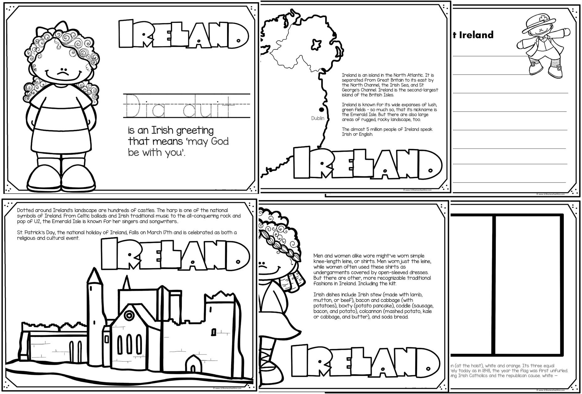 Read, Color & Learn Country Coloring Pages