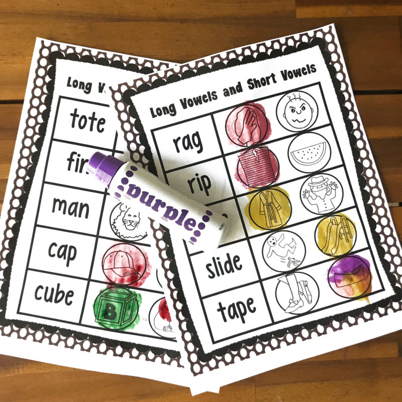 long vowel and short vowels do a dot printables