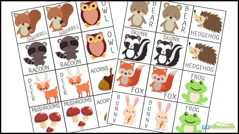 free Animal matching game printable