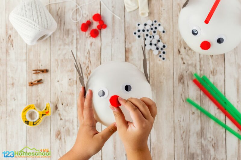 easy Christmas STEM Activities using balloons, string, and decorative items
