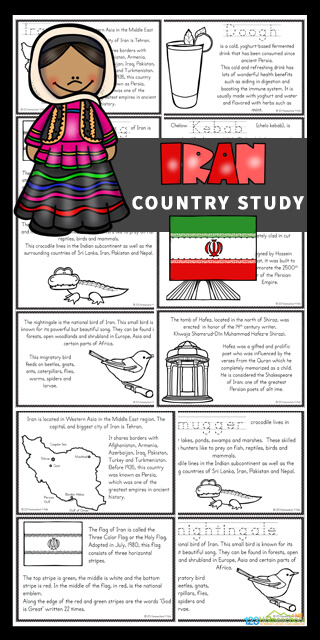 Kids will love learning about Iran for kids with these Free Iran Mini Books. These worksheets to color, learn and read are filled with Iranian facts and information for kindergarten, first grade, 2nd grade, 3rd grade, 4th grade, 5th grade, and 6th grade students.