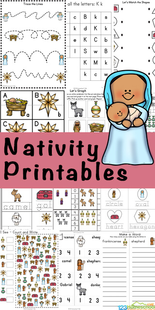 Make learning fun in December with these Nativity Printables to help preschool, pre-k, kindergarten, and first grade students work on math and literacy skills. This HUGE pack of Christmas Worksheets includes more than 50 pages of alphabet matching, learning vocabulary about Jesus birth from Luke 2, I spy games, counting activities, and more. These free nativity printables remind children that Jesus' birthday is on December 25th.