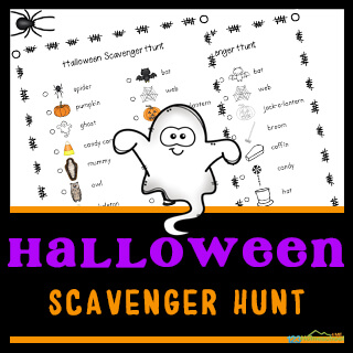 Instead of the traditional trick and treat this Halloween, why not try something a little different. You can still get outside and have fun walking around the neighborhood, getting some exercise, while searching for different Halloween related items such as spiders, bats, cats, as part of this free printable Halloween Scavenger Hunt. This Halloween Scavenger Hunt for Kids is perfect for toddler, preschool, pre-k, kindergarten, first grade, 2nd grade, and 3rd grade children.