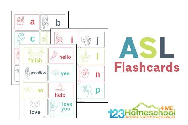 Printable Sign Language Flash Cards