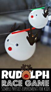 This fun Rudolph Race Game is both an outrageously fun Christmas game for kids and a chance to sneak in Christmas STEM Activities! This easy-to-set-up Rudolph Races is a Christmas Activity for toddler, preschool, pre-k, kindergarten, first grade, 2nd grade, 3rd grade, 4th grade, 5th grade, and 6th grade students that teaches a little physics while having FUN! This Christmas science experiment is perfect for the whole family!