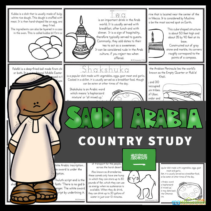 Kids will love learning about Saudi Arabia for Kids with these Free Saudi Arabia Mini Books. These worksheets to color, learn and read are filled with Saudi Arabian facts and information for kindergarten, first grade, 2nd grade, 3rd grade, 4th grade, 5th grade, and 6th grade students.