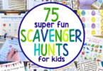 Are you ready for an EPIC list of kids scavenger hunt possibilities? Whether you are looking for a fun boredom buster idea, a way to get the kids outside, or something active to do when you are stuck inside, there is a fun scavenger hunts for kids on this list that is perfect for every occasion! In fact, we have over 75 free scavenger hunt ideas for toddler, preschool, pre-k, kindergarten, first grade, 2nd grade, 3rd grade, 4th grade, 5th grade, and 6th grade students.