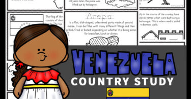Kids will love learning about Venezuela for Kids with these Free Venezuela Mini Books. These worksheets to color, learn and read are filled with Venezuelan facts and information for kindergarten, first grade, 2nd grade, 3rd grade, 4th grade, 5th grade, and 6th grade students.