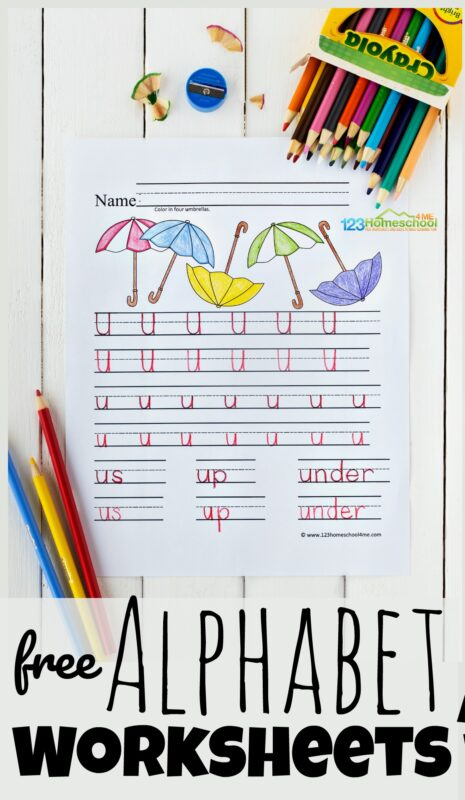 Kids need lots of practice tracing letters to improve handwriting! These super cute, free printable alphabet worksheets are a handy tool for preschool, pre-k, kindergarten, or first grade students. With these alphabet worksheets children will get the practice writing alphabet letters they need to write letters A to Z. Simply download pdf file withfree alphabet worksheets and you are ready to practice upper and lowercase tracing letters.