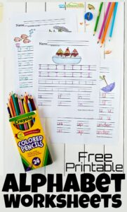 Kids need lots of practice tracing letters to improve handwriting! These super cute, free printable alphabet worksheets are a handy tool for preschool, pre-k, kindergarten, or first grade students. With these alphabet worksheets children will get the practice writing alphabet letters they need to write letters A to Z. Simply print pdf file withfree alphabet worksheets and you are ready to practice upper and lowercase tracing letters.