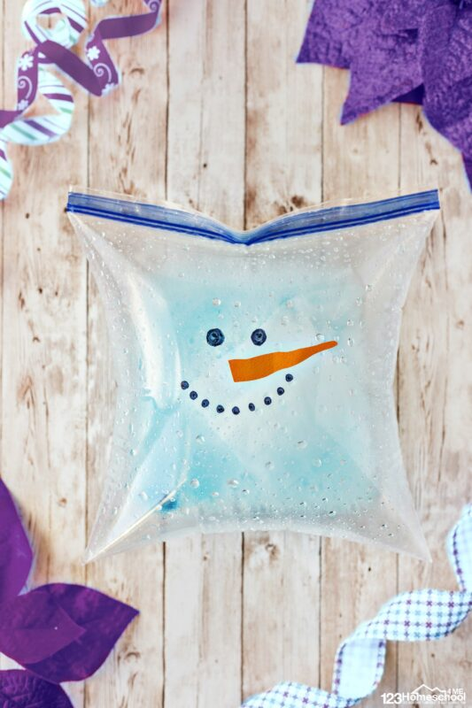 winter Baking Soda and Vinegar Experiment making an exploding snowman