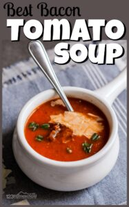 This is not only the best tomato soup recipe, but it is actually good for you too as it is filled with not only tomatoes but carrots, celery, onions, and garlic too! But don't worry, your family wont realize they are eating lots of nutritious vegetables as they will just enjoy the rich flavor from the bacon and roasted tomatoes. This best homemade tomato soup is our family's favorite soup recipe for fall, winter, and anytime we want some yummy, homemade comfort food! I know your family will love this best ever tomato soup too!
