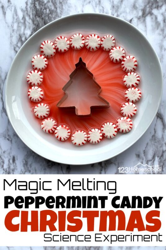 Want to add a little more magic into your Christmas holiday season this year? Your kids eyes will get wide with this fun Christmas science experiment. The best part? This Magic Melting peppermint science experiment takes literally 2 minutes to set it up! This Christmas science is perfect for toddler, preschool, pre-k, kindergarten, and first grade students to try in December.
