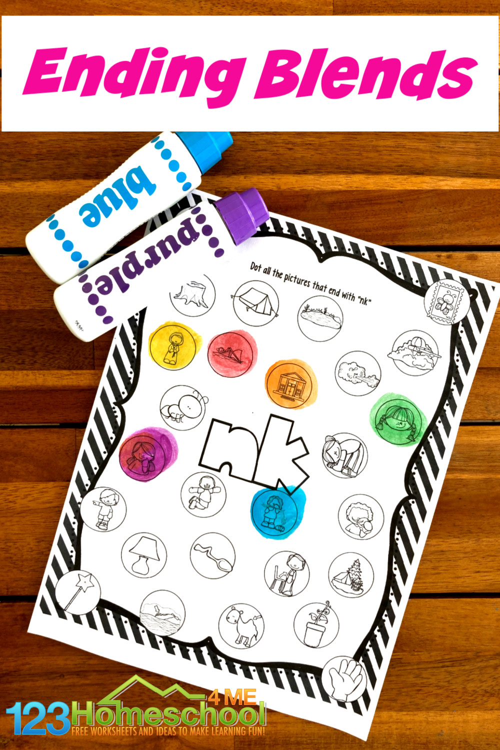 Many times our kiddos need to hear words and play with the sounds before we can expect them to read them. These free printable ending blends worksheets allow children listening to words with N blends before they are expected to read or spell them. Thesefirst grade worksheets us bingo dauber markers to make them extra fun. Simply download pdf fie withdo a dot printablesand you are ready to work on phonics skills with kindergarten, 1st grade, and 2nd grade students.