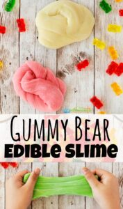 This amazing new gummy bear slimeuses actual gummy bearsto make this fun-to-play-with edible slime! Thisedible slime recipe with gummy bears is perfect for toddler, preschool, pre-k, kindergarten, and first grade students. Use it as a kitchen science experiment, play recipe for tactile exploration and sensory activity, use it for a fun rainy day project, or simply use it because it sounds like fun to play with gummy bears today!