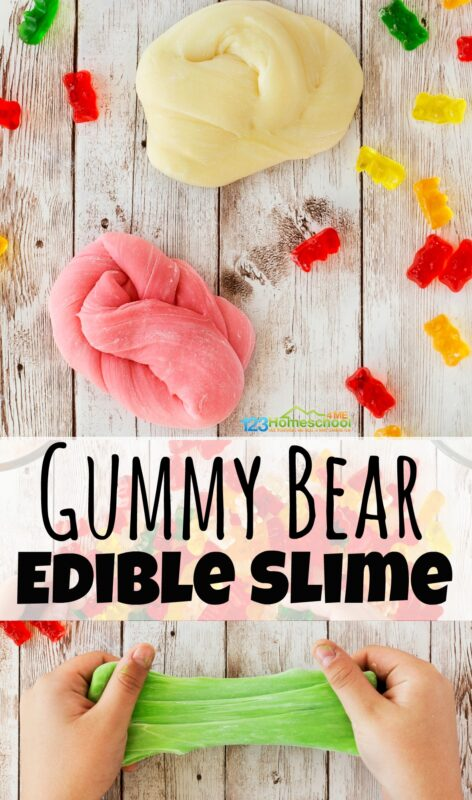 This amazing new gummy bear slime uses actual gummy bears to make this fun-to-play-with edible slime! This edible slime recipe with gummy bears is perfect for toddler, preschool, pre-k, kindergarten, and first grade students. Use it as a kitchen science experiment, play recipe for tactile exploration and sensory activity, use it for a fun rainy day project, or simply use it because it sounds like fun to play with gummy bears today!