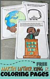 CelebrateMartin Luther King Jr day for kids with these free printableMartin Luther King Coloring Pagepack to color and learn. TheseMartin Luther King printables help toddler, preschool, pre-k, kindergarten, first grade, and 2nd grade students learn about this important historical figure who spent his life fighting for social justice issues in American so that black and white would be equal.
