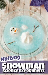 Kids will have fun with this melting snowman where they will melt the snowman using a fun winter science experiment. This snowman activity is perfect for toddler, preschool, pre-k, and kindergarten to sneak in a fun winter STEM activity where they will build a snowman and then melt it with snow science experiments observing simple chemistry for kids.
