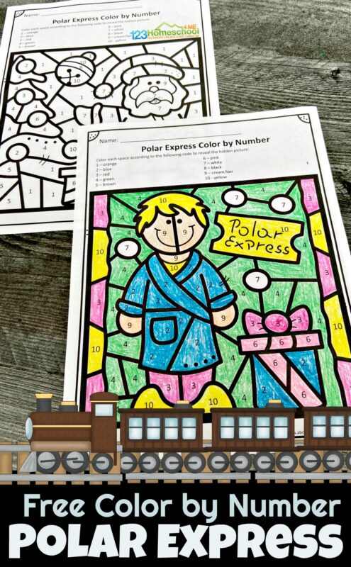 Celebrate the holiday season this December with these super cute, free printable, Polar Express Color by Number. These Christmas worksheets are perfect for toddler, preschool, pre-k, kindergarten, and first grade students to work on number recognition. Simply download pdf file for this coloring pages pack of no-prep Christmas Math pages to make learning fun!