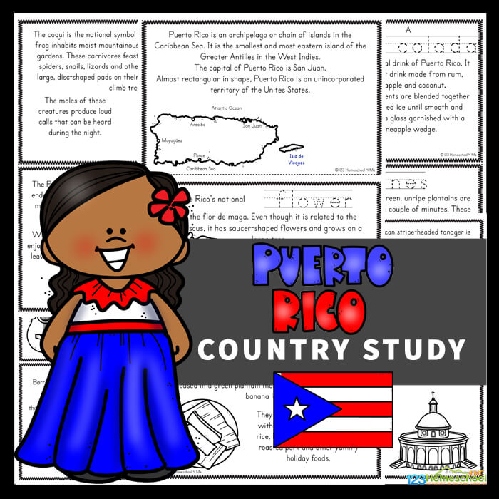FREE Puerto Rico for Kids Country Study - learn about the beautiful island nation with these puerto rico pritnables for elementary age students learning about countries around the world.