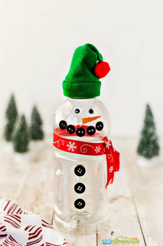 cute Snowman Crafts for Kids out of a water bottle