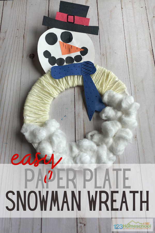 Wreaths are one of my favorite decorations during the holiday season! Especially ones that my daughter makes. This super cute snowman wreath craft uses a paper plate snowman to create a winter wreath craft for kids that is perfect for December and January. This cute snowman craft is perfect for toddler, preschool, pre-k, kindergarten, first grade, and 2nd grade students to make. It is sure to be your favoritesnowman craft ideas you make this holiday season.