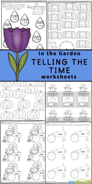 Free Telling Time Worksheets - Introduce children in pre-k, preschool, kindergarten, first grade, and 2nd grade to learning to read a clock with these fun Garden themed Telling the Time Worksheets. Concentrating on learning the o'clock and half-past times, these worksheets are a great way to introduce time and reading a clock to your children. Simply download pdf file withclock worksheets and you are ready for fun, free math worksheets with a fun garden theme including scarecrows, raindrops, hay bales, tractors, seed packets, apples, pumpkins, and more in this huge pack of time worksheets!