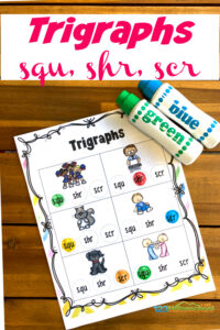 Make learning trigraphs fun with these free trigraph worksheets that students will complete with bingo daubers! Your first grade and 2nd grade students will have fun completing these phonics worksheets to improve reading and spelling using these do a dot printables to work on trigraphs scr, shr, and squ.