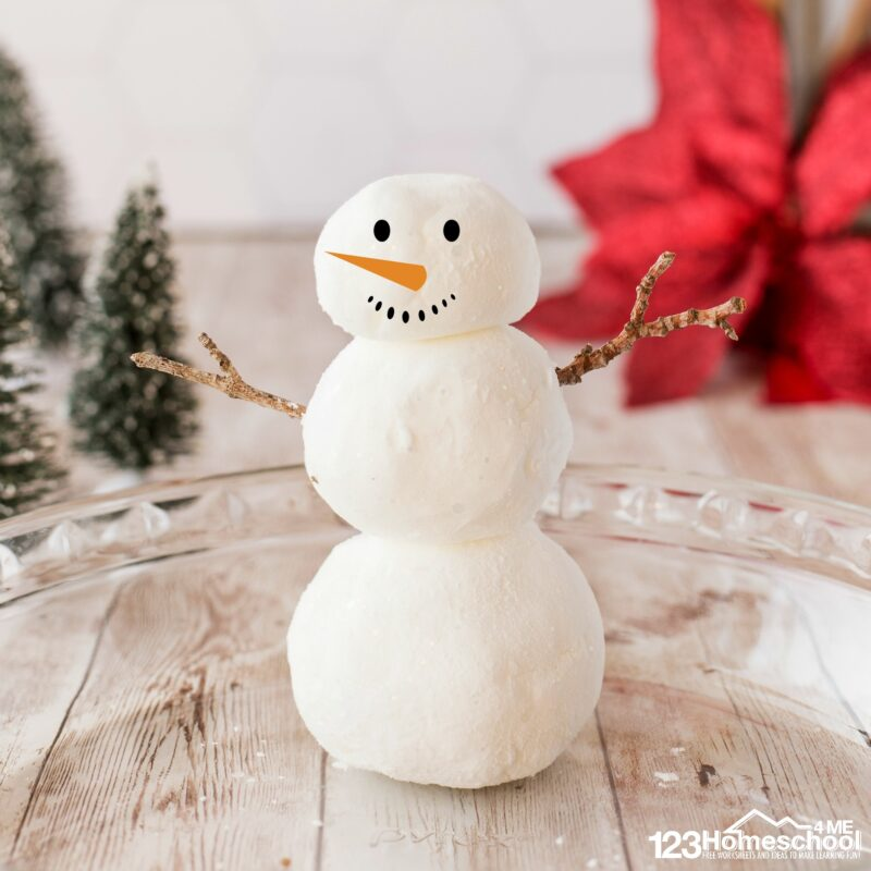 build a snowman indoors with this Winter science experiments for preschoolers