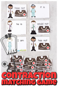 Make practicing contractions fun with this super cute, free printable Doctorcontraction matching game.In thiscontractions activity students in 2nd grade, 3rd grade, 4th grade, and 5th graders will practice identifying 26 common contractions for kids. Simply download pdf file with the contraction gameprintable to make learning fun.