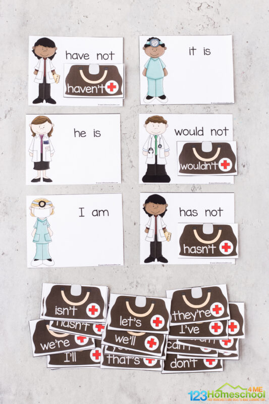 contractions matching worksheet